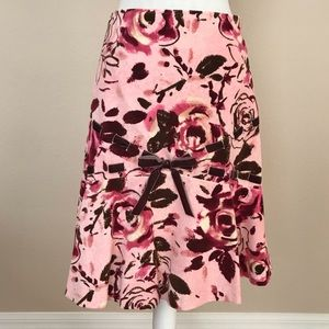 Anthropologie Odille Rose Ribbon Skirt
